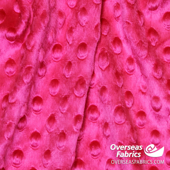 "Dot Minky Fleece 60"" - Hot Pink"