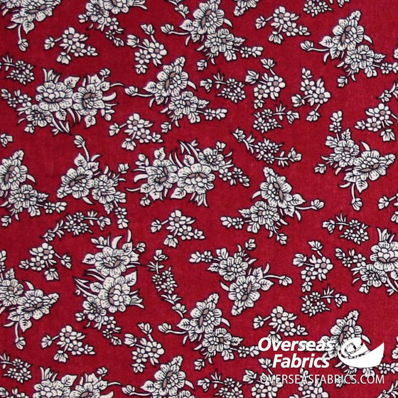 "Dress Cotton 60"" - June 2020 Collection, Design 2 - Small Floral Bunches, Red"