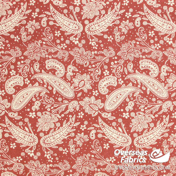 "Dress Cotton 60"" - June 2020 Collection, Design 6 - Paisley Floral, Peach-Cream"