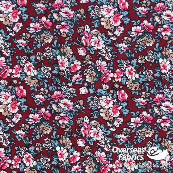 "Dress Cotton 60"" - June 2020 Collection, Design 9 - Floral Bouquets, Maroon"