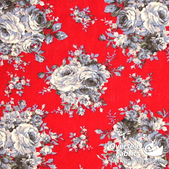 "Dress Cotton 60"" - July 2020 Collection; Design 1 - Big Bold Bouquets, Red"