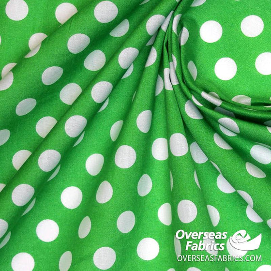 "Dress Cotton 60"" - June 2020 Collection; Design 11 - Large Polka Dots, Green"