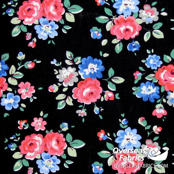 "Dress Cotton 60"" - June 2020 Collection; Design 14 - Artistic Peonies, Black"