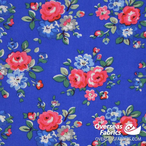 "Dress Cotton 60"" - June 2020 Collection; Design 14 - Artistic Peonies, Royal Blue"