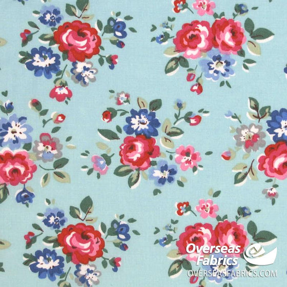 "Dress Cotton 60"" - June 2020 Collection; Design 14 - Artistic Peonies, Aqua"