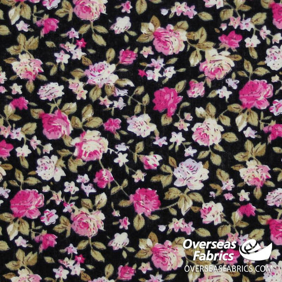 "Dress Cotton 60"" - June 2020 Collection; Design 15 - Busy Rose Garden, Black"