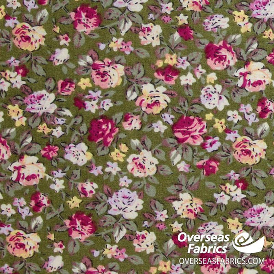 "Dress Cotton 60"" - June 2020 Collection; Design 15 - Busy Rose Garden, Olive"