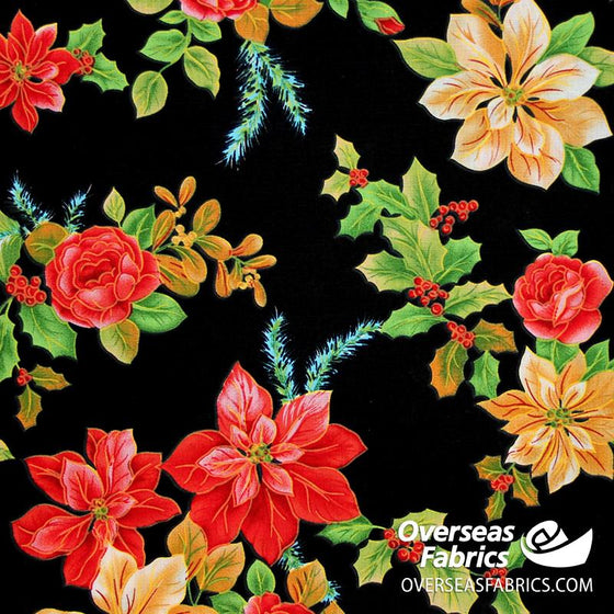 "Dress Cotton 60"" - June 2020 Collection; Design 17 - Large Poinsettias, Black"