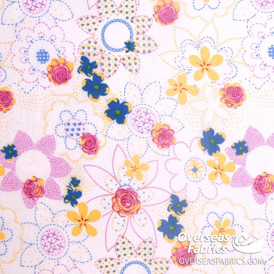 "Dress Cotton 60"" - June 2020 Collection; Design 18 - Daisy Stencils, White-Pink"