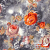 "Dress Crepe 45"" - July 2020 Collection; Design 05 - Concrete Jungle Roses, Orange"