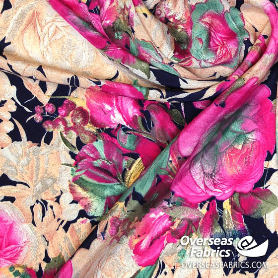 "Dress Crepe 45"" - July 2020 Collection; Design 07 - Navy Floral, Fuchsia"