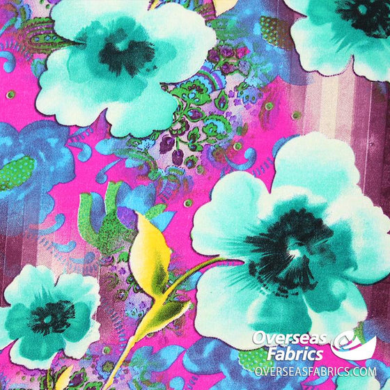 "Dress Crepe 45"" - June 2020 Collection; Design 01 - Large Flowers, Teal"