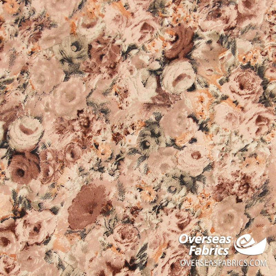 "Dress Crepe 45"" - June 2020 Collection; Design 02 - Sepia-tone Roses, Brown"