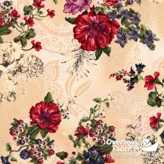 "Dress Crepe 45"" - June 2020 Collection; Design 03 - Floral Paisley, Peach"