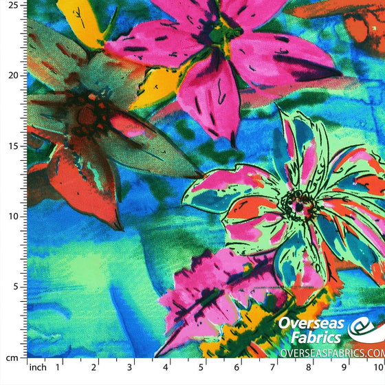 "Dress Crepe 45"" - June 2020 Collection; Design 07 - Abstract Lilies, Blue"
