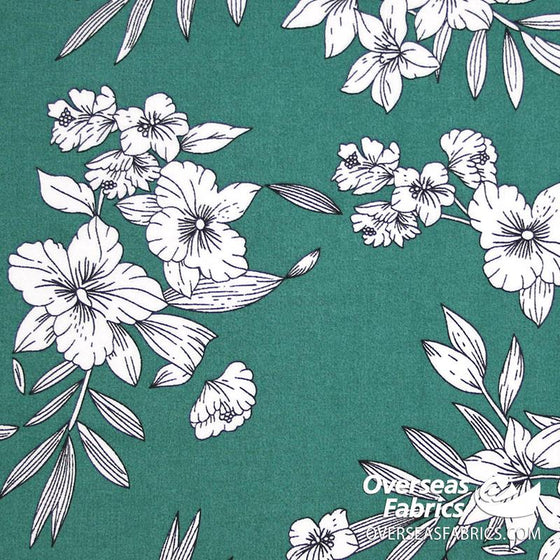 "Dress Rayon 60"" - July 2020 Collection; Design 02 - White Flowers, Green"