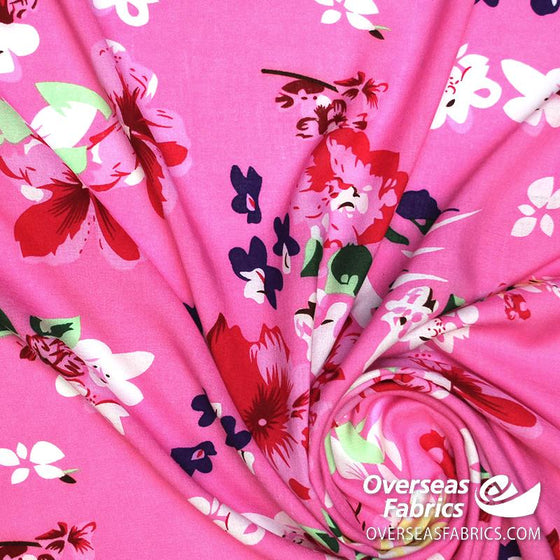 "Dress Rayon 60"" - June 2020 Collection; Design 01 - Large Floral, Pink"