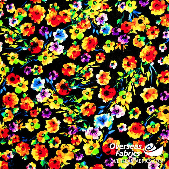 "Dress Rayon 60"" - June 2020 Collection; Design 02 - Floral Explosion, Black"