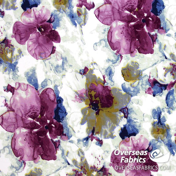 "Dress Rayon 60"" - June 2020 Collection; Design 03 - Flower Fade-Out, Purple"