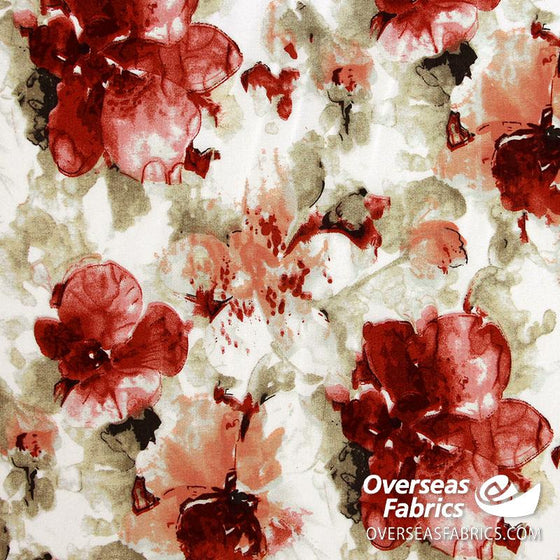 "Dress Rayon 60"" - June 2020 Collection; Design 03 - Flower Fade-Out, Rust"