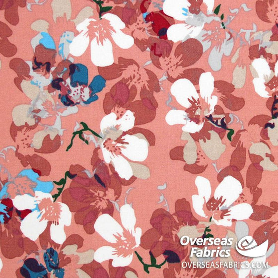 "Dress Rayon 60"" - June 2020 Collection; Design 04 - Floral Pop-Art, Dusty Peach"