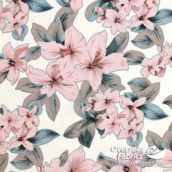 "Dress Rayon 60"" - June 2020 Collection; Design 05 - Tropical Flowers, Ivory"