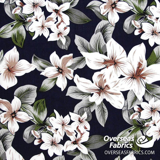 "Dress Rayon 60"" - June 2020 Collection; Design 05 - Tropical Flowers, Navy"
