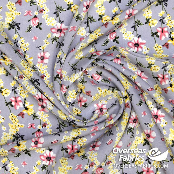 "Dress Rayon 60"" - June 2020 Collection; Design 06 - Daisy Chain, Grey"