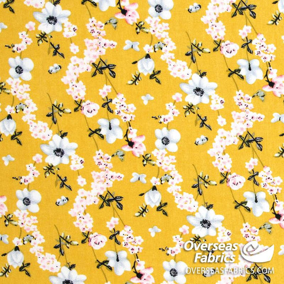"Dress Rayon 60"" - June 2020 Collection; Design 06 - Daisy Chain, Mustard"
