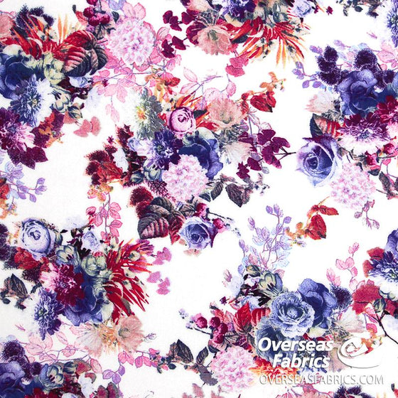 "Dress Rayon 60"" - June 2020 Collection; Design 07 - Floral Watercolours, Purple Flowers"