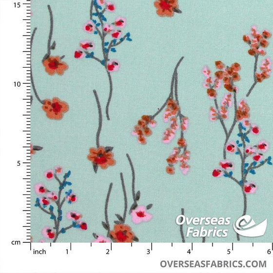 "Dress Rayon 60"" - June 2020 Collection; Design 09 - Baby's Breath, Seafoam"