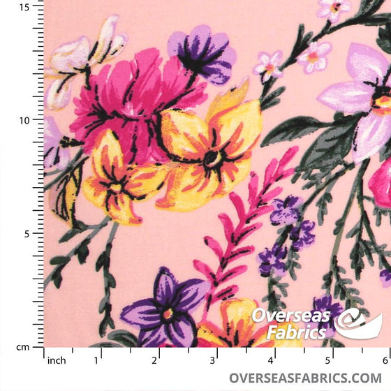 "Dress Rayon 60"" - June 2020 Collection; Design 10 - Daffodil Delight, Peach"
