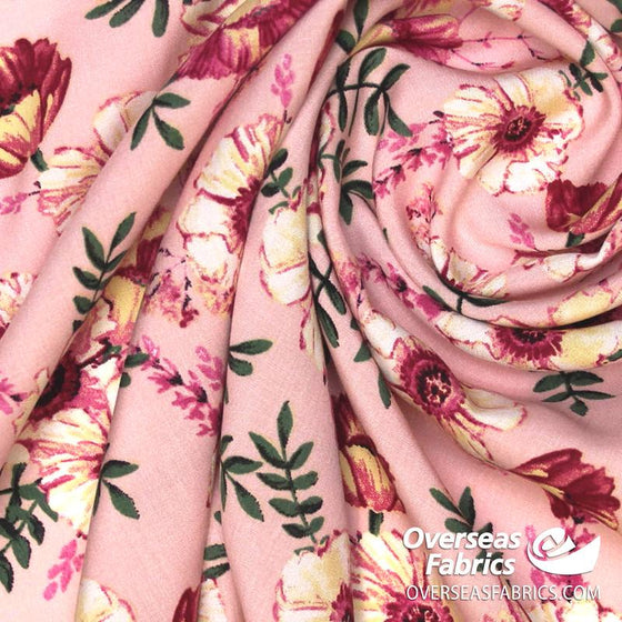 "Dress Rayon 60"" - June 2020 Collection; Design 12 - Poppy Power, Pink"