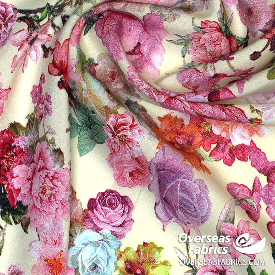 "Dress Rayon 60"" - June 2020 Collection; Design 19 - Roses & Carnations, Cream"