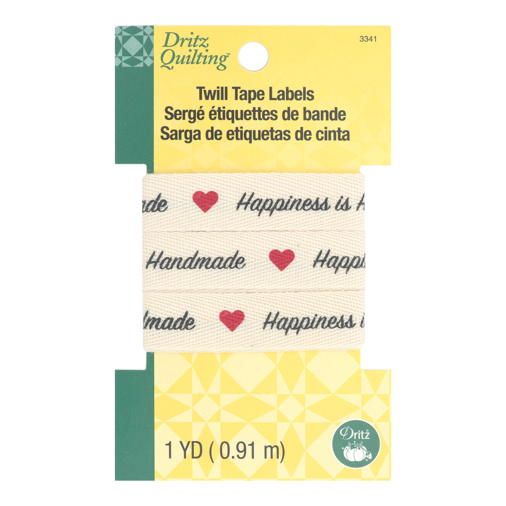 Dritz - Twill Tape Labels, Happiness is Handmade