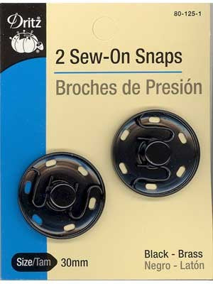 Dritz - Sew-On Snaps - Black, 30mm, 2 count