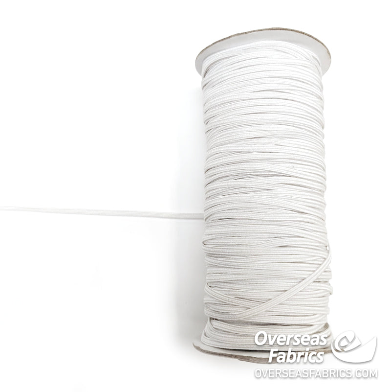 Braided Elastic Poly - White, 3mm (1/8