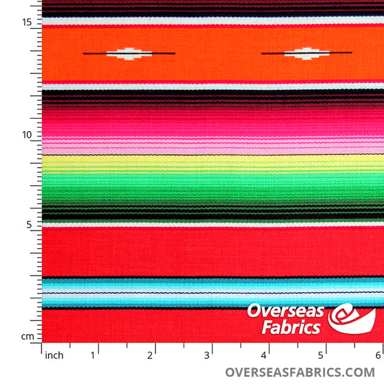 Elizabeth's Studio - Fiesta, Mexican Stripes, Red