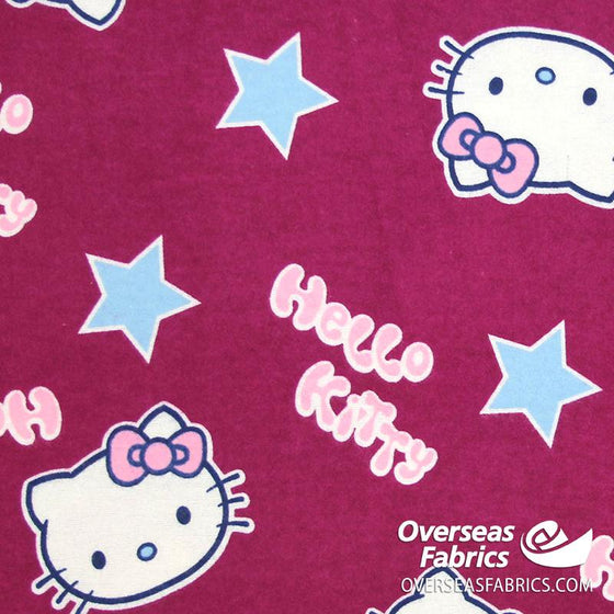"Flannelette Print 45"" - July 2020 Collection; Design 9 - Hello Kitty, Wine"