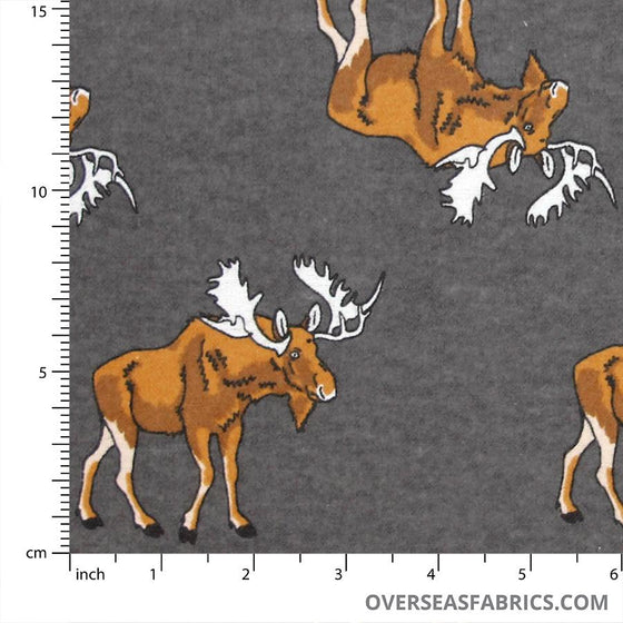 "Flannelette Print 45"" - July 2020 Collection; Design 21 - Moose, Grey"