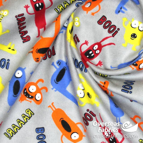 "Flannelette Print 45"" - July 2020 Collection; Design 24 - Monsters, Grey"