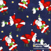 "Flannelette Print 45"" - July 2020 Collection; Design 30 - Santa Claus Penguins, Navy Blue"