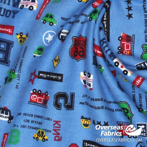 "Flannelette Print 45"" - July 2020 Collection; Design 72 - On the Road, Blue"