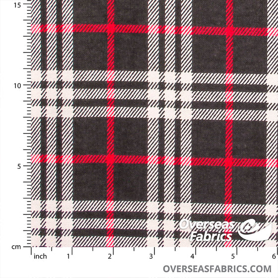 "Flannelette Print 45"" - Black Red Plaid"