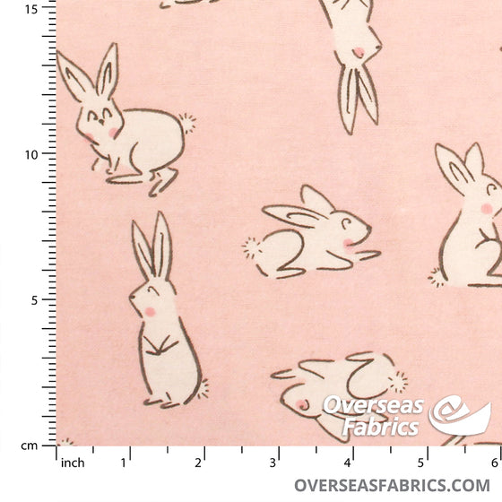"Flannelette Print 45"" - Pink Cartoon Bunnies"