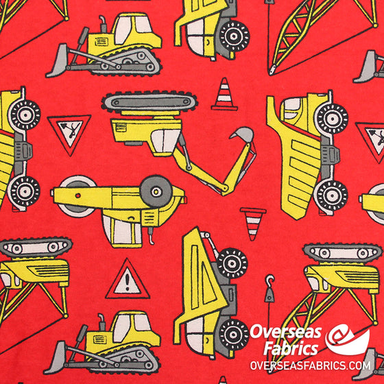 "Flannelette Print 45"" - Red Construction Vehicles"
