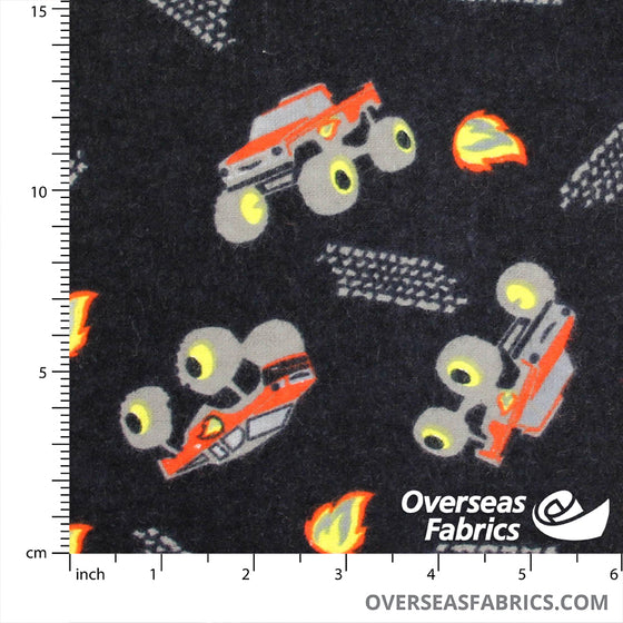 "Flannelette Print 45"" - Monster Trucks"