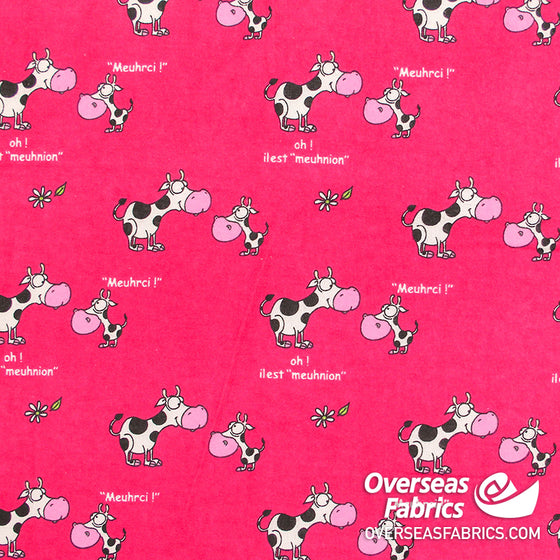 "Flannelette Print 45"" - Pink Cows"
