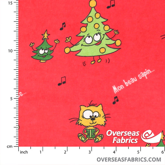 "Flannelette Print 45"" - Red Christmas Trees"