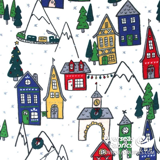 "Flannelette Print 60"" - Snowy Christmas Village, White (Nov 2020)"